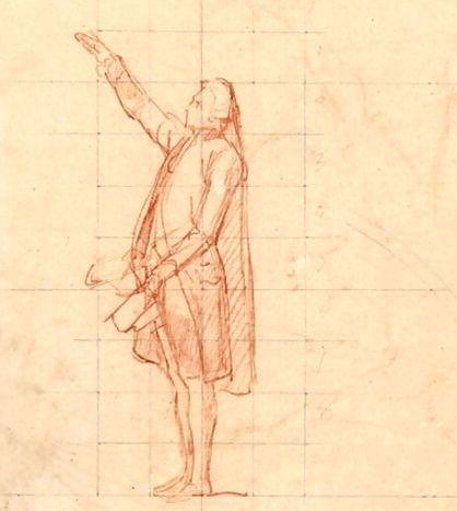 """رسم تجهيزي للوحة """"القسم في محكمة تينيس"""" للفنان لويس تشارلز أوغوستي كاودر"""