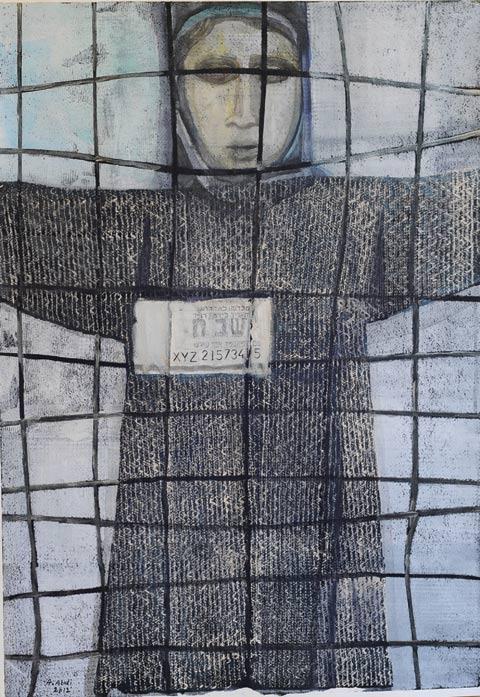 """عبد عابدي، فاطمة أبو شرش، """"مقيمة غير قانونية""""، طباعة وأكريليك على ورق، 2012"""