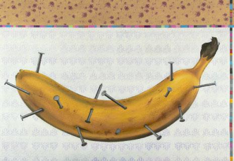 «كائن بشري» للسوري أسامة دياب (185 × 250 سنتم ــ مواد مختلفة على كانفاس ــ 2012)