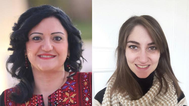 من اليمين: الباحثة ليونور غارسيا والكاتبة فدى جريس
